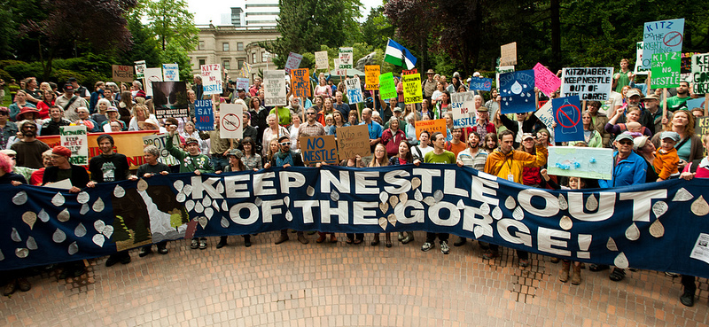 "A demonstration with a large banner reading ""Keep Nestlé Out of the Gorge!"""